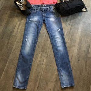 Express Bedrock Distressed Skinny Jeans